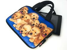 "Golden Puppy Soft 7"" Tablet Sleeve Pouch Case with Handles Blue"