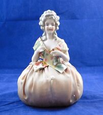 Antique Porcelain Half Doll Victorian Original Pin Cushion Hands Away