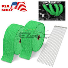 """2 Rollx2"""" 50FT Green Exhaust Thermal Wrap Manifold Header Isolation Heat Tape"""