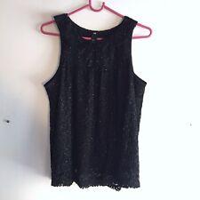 black glitter lace peter pan collar blouse size large
