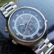 Omega 1971 Flightmaster 43mm Vintage Reloj de Acero Inoxidable Cronógrafo LV286