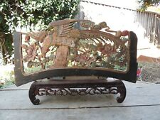 A57. Antique Carved Gold Gilt Wood Panel  w/ Phoenix and Flower