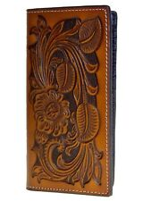 Nocona Mens Western Rodeo Wallet 11 Card Heavy Leather Tooled  Brown