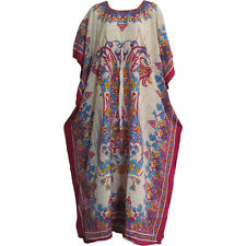 Bohemian Crepe Caftan Cover-Up Hippie Gypsy Chic #74 Beige/Pink Paisley