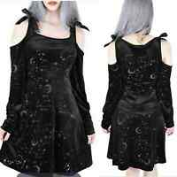 Killstar Women's Small Cosmo Black Goth Zodiac Cold Shoulder Mini Dress
