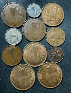 Old Ireland Coin Lot - 1934-1968 - 11High Quality Coins - LOT #A4