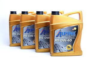 Motoröl HC- Synthetiköl Öl von Alpine RS SAE 0W40 Motorenöl  20Liter 0W-40 M0032