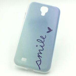 Handy Hülle für Samsung Galaxy S4 Smile Blau Tasche Case Cover + 1x Panzer Schut