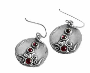 New Shablool Didae Sterling Silver Earrings bordaux Garnet For Women
