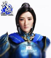 """1/6 The Great Wall Jing Tian Planted Hair Head Sculpt Carved F 12"""" Phicen Figure"""