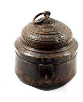 1850 Rare Antique Unique Shape Copper Handcrafted Chapatti Bread Box. G66-110 US