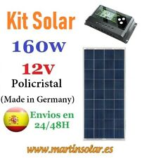 Kit placa panel solar 160w 12v Policristal + regulador 20ah.
