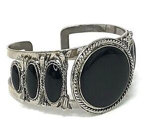 Southwest Style Cuff Bracelet Silver Tone Black Glass Cabochon Boho Hippie