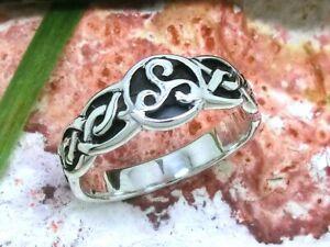 Triskele keltischer Knoten 925 Sterling Silber Ring Sonnenrad Kelten
