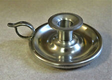 Vintage Woodbury Pewterers Candle Stick Holder Low Chamberstick Pewter