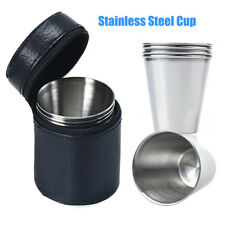 Set of 4 Stainless Steel Cup Mug Leather Cover Drinking Coffee Tea For Camping