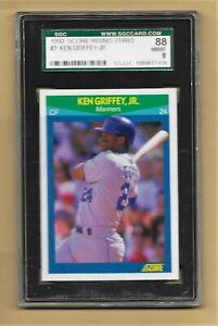 1990 Score - Ken Griffey Jr - Rising Stars - Seattle Mariners - SGC 88 - PSA 8