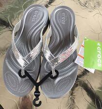c48620a141153d Crocs 10 Silver Sequins Bling NWT Flip Flops Capri V BE NOTICED Beach Cruise