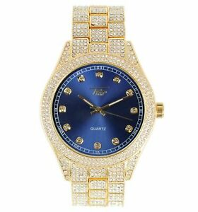 Iced Bling Rapper Lab Diamond Metal 14K Gold PT Hip Hop Luxury Colorful Watch
