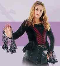 Gothic Corsagen Bluse, schwarz-rot, Satin mit Spitze, Oberteil, Top, Halloween