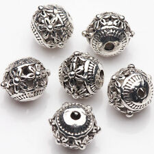 10Pcs Tibetan Silver Plated Carved Flower Round Spacer Hollow Beads DIY 9*8mm