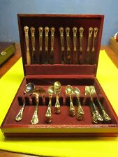 Vintage Godinger Silver Art Co. Ltd. Gold-tone Silverplate 49 Piece Flatware