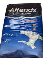 "Attends Bariatric 8 Briefs 3XL 70""-100"" Advanced Dermadry Tech Odor Shield NEW"
