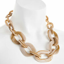 Beige colour resin large oval link trendy choker necklace fashion jewellery
