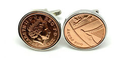 More details for 8th bronze wedding anniversary cufflinks - bronze 1p coins from 2013 gift ht