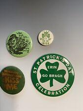 Lot 4 St Patrick's Day Button Pins Vintage Erin Go Bragh Blarney Stone Kiss Me