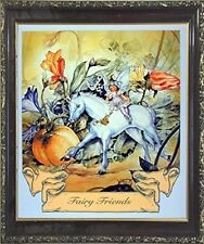 Fairy and Unicorn Horse Friend Mahogany Wall Framed Art Print Picture (20x24)