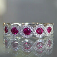 Gorgeous 925 Silver Rings Jewelry Oval Cut Ruby Women Wedding Rings Size 6-10