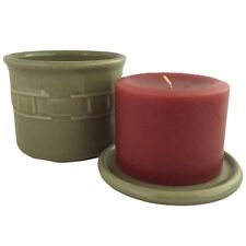 New Longaberger Woven Traditions Sage Salt Crock Lid McIntosh Apple Pint Candle