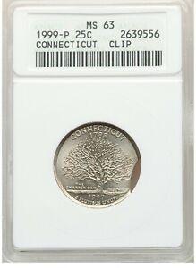 ER090 1999-P 25C Connecticut Statehood Quarter Dollar -- Clip ANACS MS63