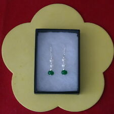 Beautiful Earrings With Emerald And Pearls 1.7 Gr.3 Cm.Long + 925 Silver Hooks