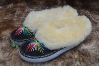 womens ladies natural leather sheepskin slippers moccasins size 2-7
