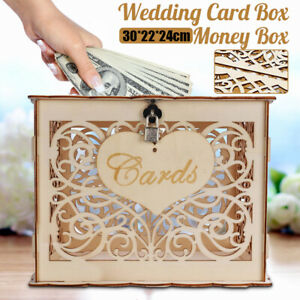 Wedding Money Box Holder W Sign Large Rustic Wood Wooden DIY Envelop Gift Card