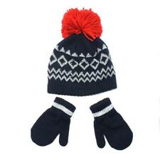 Toddler Boys Navy Red Pom Beanie Hat and Gloves Mittens 2T-4T Set ac78d4ac0f1e