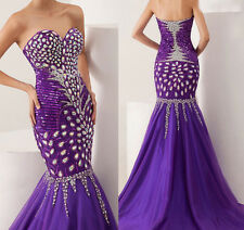 Homecoming Prom Dress Mermaid Beaded Peacock Long Fish Tail Evening Party Gown