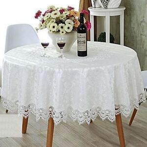 White Lace Round Dinning Tablecloth suit for 8-10 seats 200cm diameter Polyester