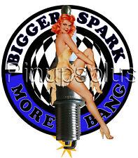 Waterslide Decal Sticker Redheaded Pinup Girl Long Legs High Heels Spark Plug