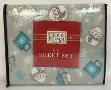 Debbie Mumm Full Size Grey Sheet Set Winter Holiday Hot Cocoa Mugs Snowflakes
