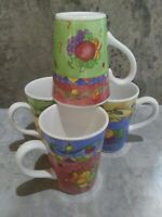 Set of 4 10oz Coffee Mugs - Sango 'Sangria' 3075 by Sue Zipkin