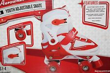 Aerowheels Quad Youth Girl's Micro-Adjustable Skate Size 1-4 Red/White Aw-082Q-M