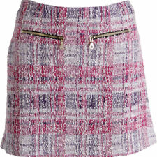 NEW Womens Juicy Couture Black Label Multi Plaid Lurex Boucle A-Line Skirt M