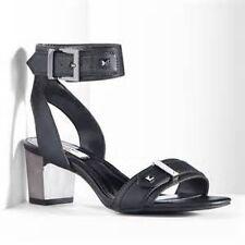 NEW~NIB~VERA  WANG Dress Sandal Ankle Strap Heels~Black w/Silver Heel~Size 9.5