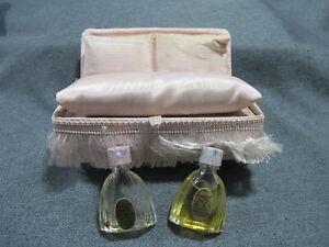 Vintage Stuart Prod Bouquet 1 & 2 miniature perfume bottles Love Seat shaped box