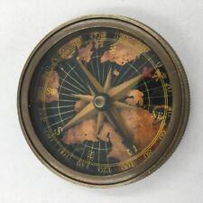 "Nautical Brass 2"" Kelvin Pocket Compass, World Face, 1885 Replica, Anchor Motif"