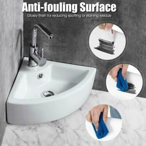Modern Corner Ceramic Small Cloakroom Basin Wall Hung Hand Wash Bathroom Sink UK
