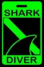 Hi-Viz Green SHARK DIVER with Dorsal Fin SCUBA Diving Luggage/Gear Bag Tag-New